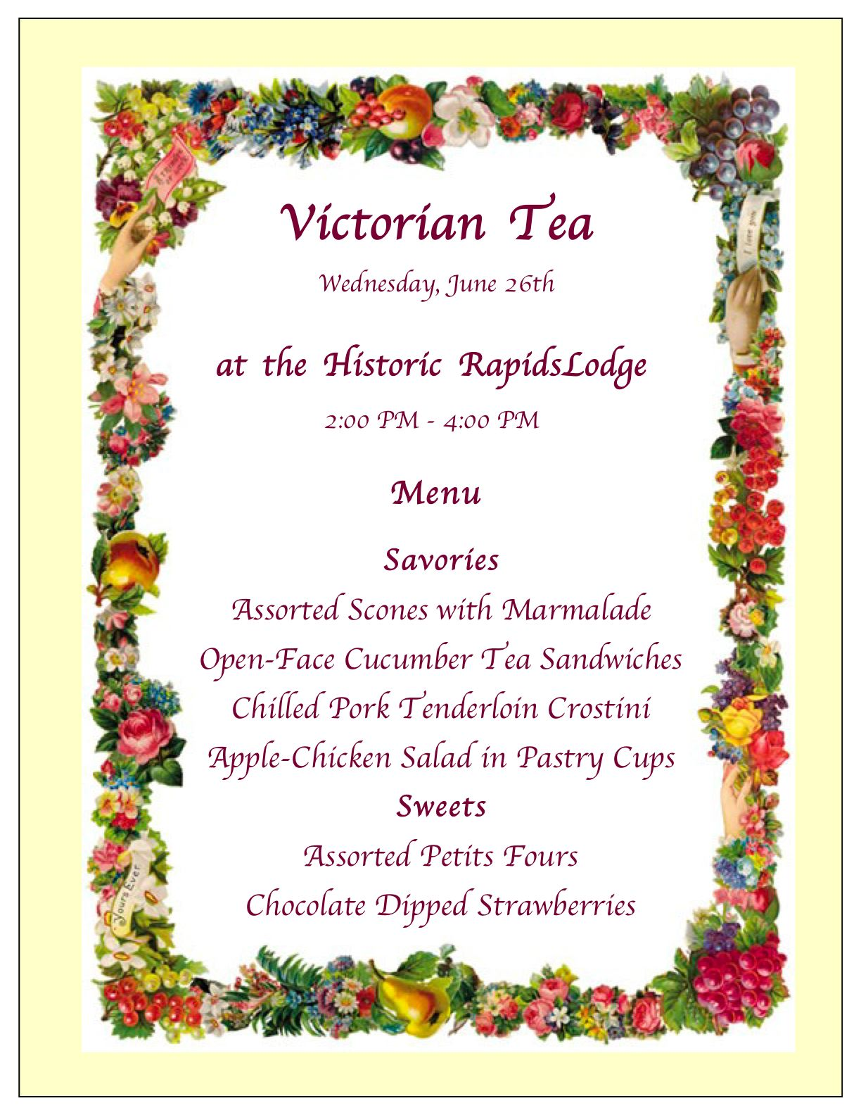 Victorian Tea at Rapids | Grand Lake Area Historical Society